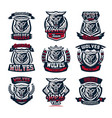 set emblems logos stickers aggressive wolf vector image