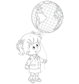 Schoolgirl holds a globe - balloon vector image vector image