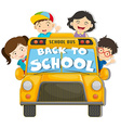 Children riding on the school bus vector image vector image