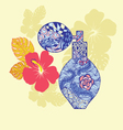 Beautiful perfume bottle with flower in doodling vector image
