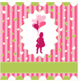 girl with balloon pink wallpaper vector image