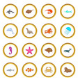 ocean inhabitants icons circle vector image