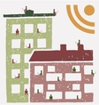 Residents of an building using social networks RSS vector image