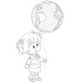 Schoolgirl holds a globe - balloon vector image