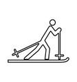 skier black icon vector image