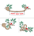 Snake with christmas hat and spruce vector image vector image