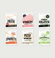 hand drawn italian food brochures vector image