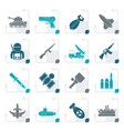 stylized army weapon and arms icons vector image vector image