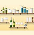 kitchen shelving with tableware seamless part 4 vector image vector image