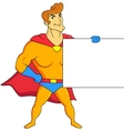 Superhero with blank sign vector image vector image