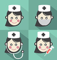 Flat Design Nurse Icon With Long Shadow Effect vector image