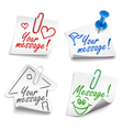 paper notes with push pin and paperclip vector image