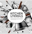 realistic light kitchen utensil poster vector image