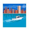 Skycrapers with Speedboat vector image