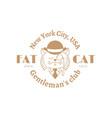 fat cat label vector image
