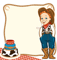 Cowboy child birthday background with cake vector image