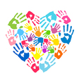 Heart of the handprints of parents and kids vector image