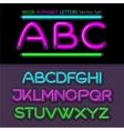 Neon Alphabet Font Style Flat Design vector image