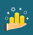 Flat design hand holding coins vector image