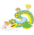Children on a waterslide vector image