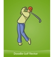 doodle golf isolated on green background vector image