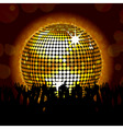 Glowing disco ball and crowd vector image