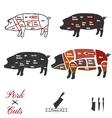 Pork cuts vector image