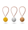 Set of gold silver and bronze medals on white vector image