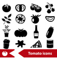 tomatoes theme black simple icons set eps10 vector image