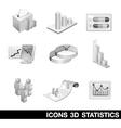 Icon Set Statistics 3D vector image