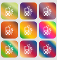 MP3 player headphones music icon Nine buttons with vector image