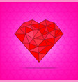 red abstract polygonal heart on pink background vector image