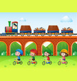 scene with trains on bridge and kids riding bike vector image