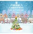Christmas postcard with vintage Christmas street vector image