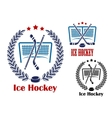 Ice hockey net emblems vector image vector image