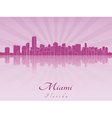 Miami skyline in purple radiant orchid vector image