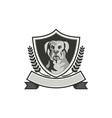 Rottweiler Head Laurel Leaves Crest Black and vector image