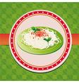 italian spaghetti on green plate vector image