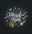 mardi gras hand lettering fat or shrove vector image
