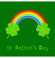 Rainbow and two clover leafs St Patricks day vector image