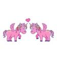 hand drawn pink unicorns in love vector image