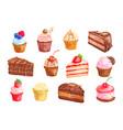 cake and cupcake dessert watercolor set design vector image vector image
