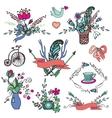 Doodle floral grouphand sketch vintage elements vector image