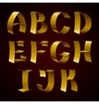 Set of isolated golden shiny ribbon font A-K vector image