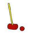 comic cartoon croquet mallet and ball vector image