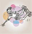 skeleton skater on grunge background vector image vector image