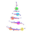 abstract american christmas fir ribbon balls vector image