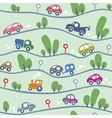 Cars on the road Funny seamless pattern vector image