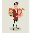 father and kids vector image