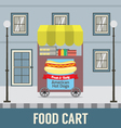 Food Cart In Front Of Vintage Building Ill vector image